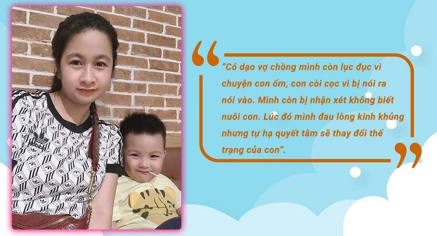 Bé Khang nhà chị Linh cân nặng thì cũng tạm tạm nhưng chiều cao thì thấp hơn mấy bé cùng lứa