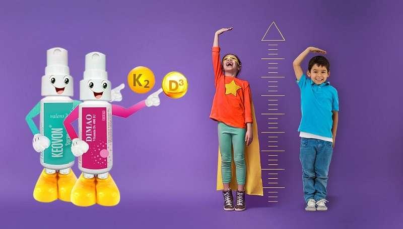 Bộ đôi Keovon vitamin K2 MK7 và Dimao vitamin D3 400 IU - Cách tăng chiều cao ở tuổi dậy thì vượt trội