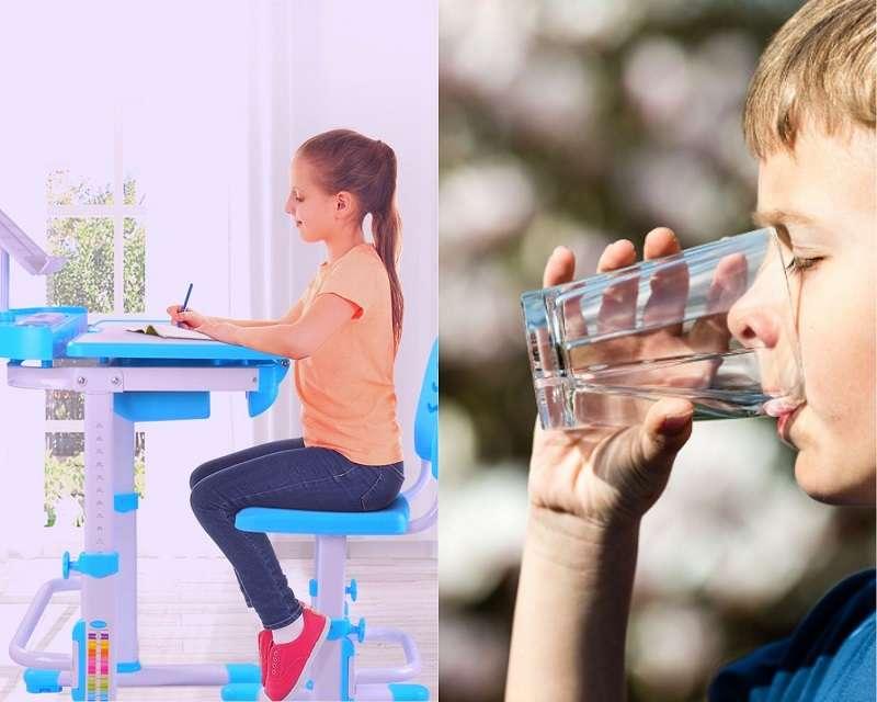 Ngồi học, đi đứng đúng tư thế và uống nhiều nước là những biện pháp tăng chiều cao hiệu quả cho trẻ