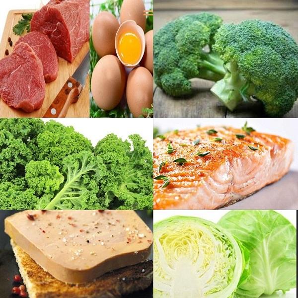 MK4 có nhiều trong các thịt bò, pate ngỗng, các loại rau, cá...
