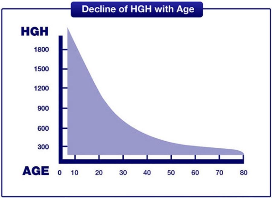 Biểu đồ thể hiện nồng độ hormon GH giảm dần theo độ tuổi