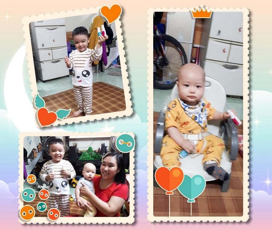 Chị Quỳnh Anh bên 2 con