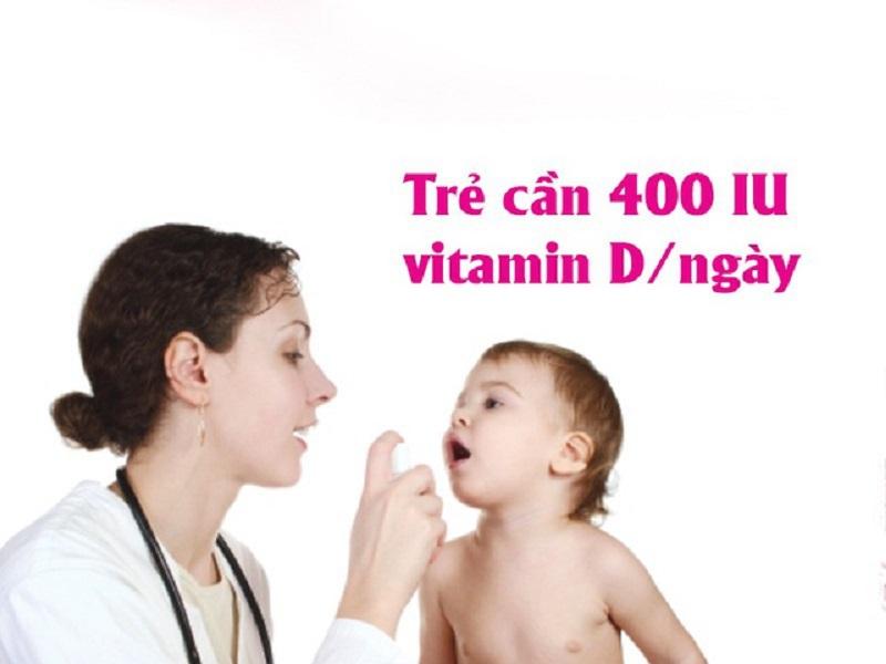 Trẻ cần bổ sung ít nhất 400IU vitamin D/ngày