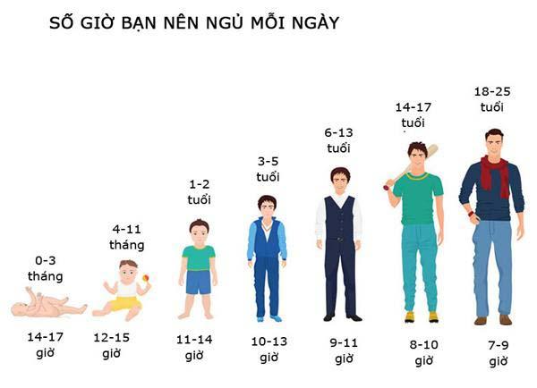 Mỗi độ tuổi có nhu cầu số giờ ngủ là khác nhau